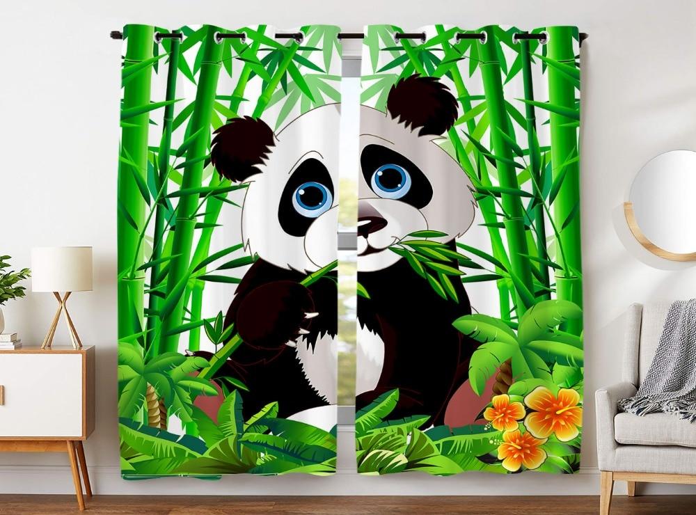 HommomH Curtains 2 Panel Grommet Top Darkening Blackout Room Cute Giant Panda Eating Bamboo Green