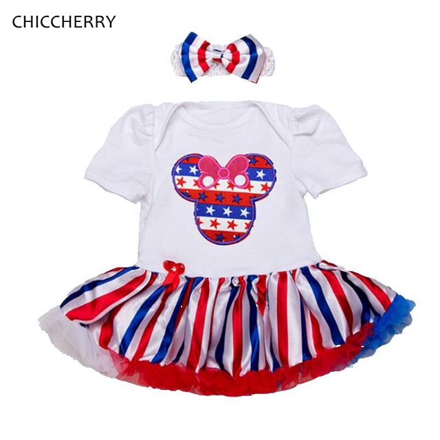 Fantasia Minnie 4Th Of July Outfit Baby Girl Dress Headbands Vestido Toddler Party Dresses Summer 2017 Clothes Infant Clothing