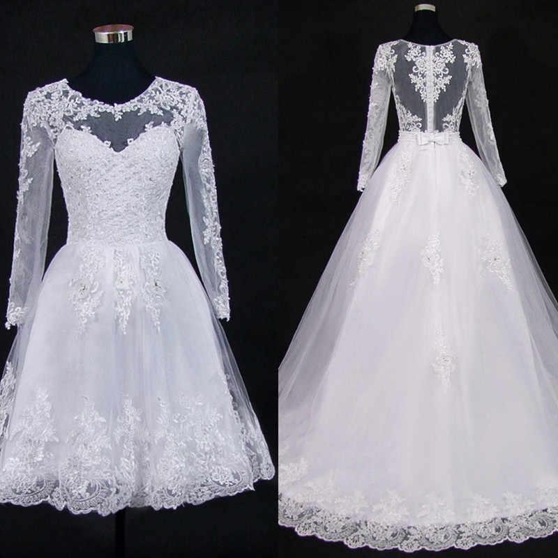 Vestido De Noiva 2019 короткое платье или 2 em 1 свадебное платье с длинными рукавами кружевные иллюзионные свадебные платья
