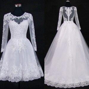 Image 4 - Vestido דה Noiva 2021 קצר שמלת או 2 em 1 חתונת שמלה ארוך שרוולים תחרה אשליה כלה שמלות