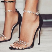 TINGHON Summer Roman Transparent Rivet Women shoes Sexy High Heels Fashion Solid color Peep Toe Party Woman Sandals Size35-42