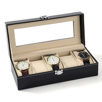 PINKSEE Fashion Black Leather Box For Watches For Men Women Packaging & Display Jewelry Collection Case