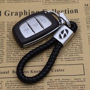 ميدالية مفاتيح معدنية سلسلة مفاتيح سيارة عليها الشعار مفتاح حلقة مفتاح حامل جلدية سلسلة مفاتيح ل هيونداي