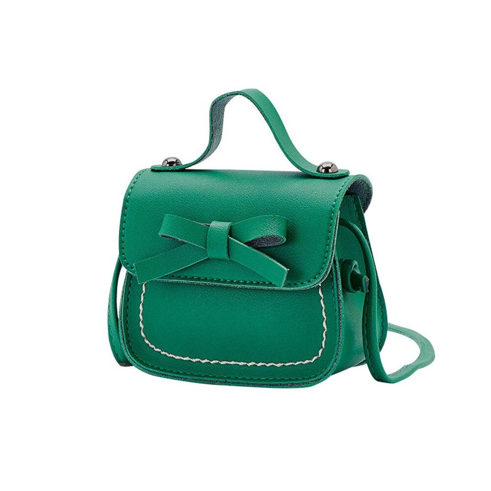 Новинка, брендовые сумки-мессенджеры для малышей, сумки на плечо для девочек, сумки на плечо для принцесс, однотонные кошельки с бантиком для принцесс - Цвет: Зеленый