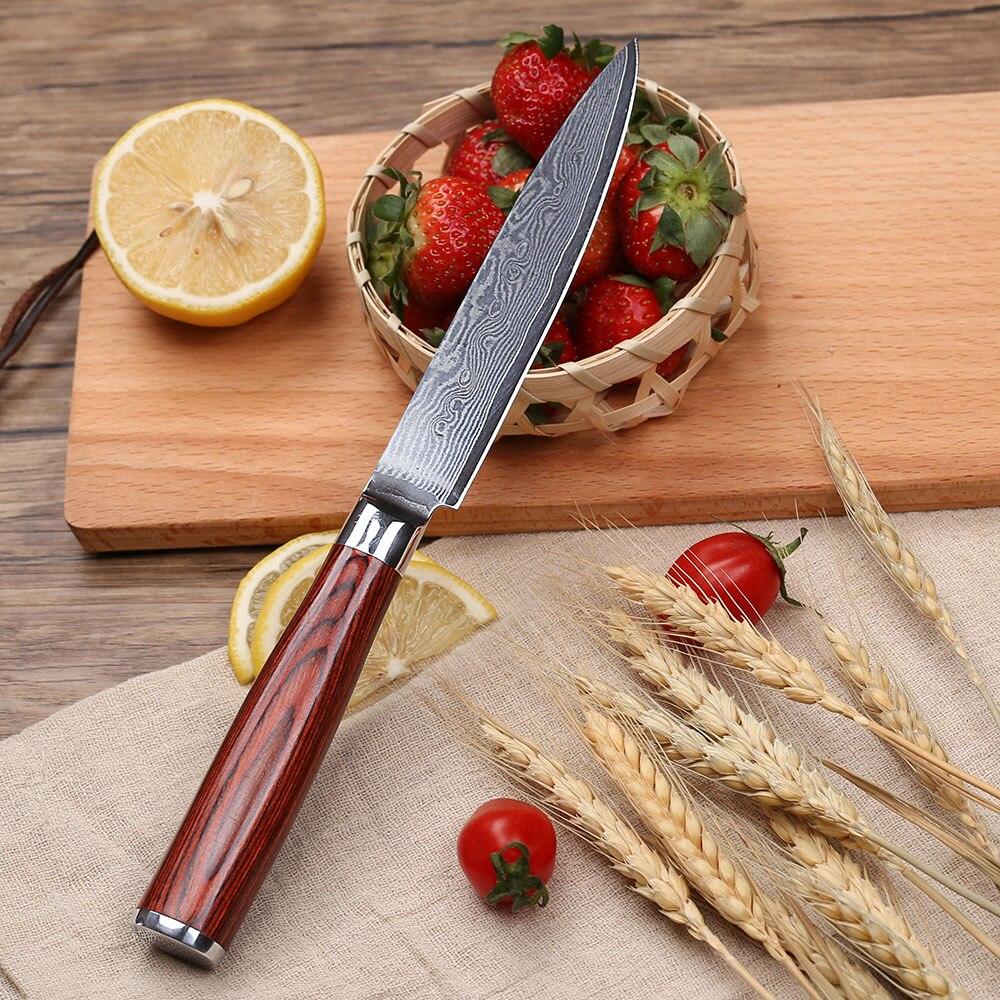 "Tuohe 5 ""인치 유틸리티 나이프 다마스커스 스틸 주방 나이프 전문 요리사 나이프 파링 나이프 pakka wood handle-에서주방 칼부터 홈 & 가든 의  그룹 2"