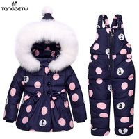 Tanggetu 2018 New Winter Children Clothing Sets Duck Down Jacket Sets Pants Jacket Hooded Baby Girls