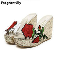 FragrantLily הנמכר ביותר PVC שקוף עמיד למים עקבים גבוהים אופנה נעלי סנדלים סקסיים נעליים באיכות גבוהה גלדיאטור אישה