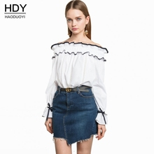 Haoduoyi Woman Bluse 2017 New Summer Slash Neck Ruffles Lace up font b Shirt b font