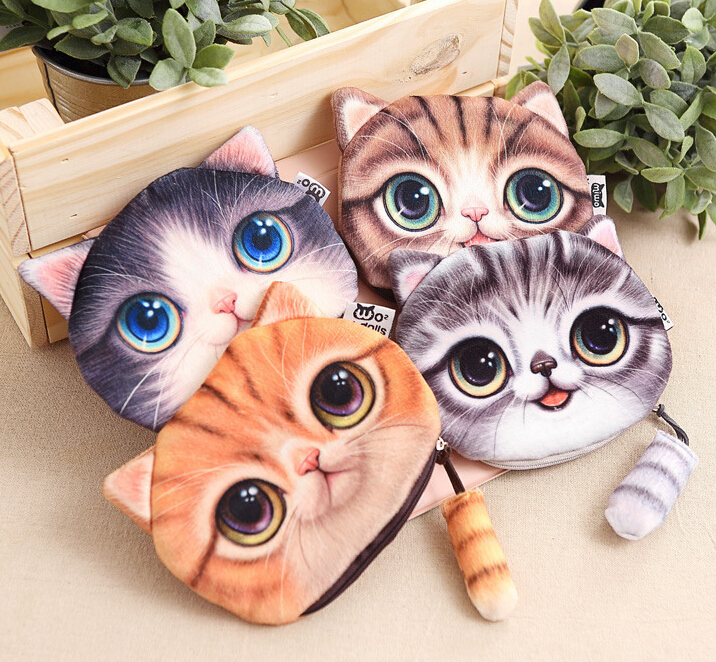New Cute Cat Coin purse kids wallet kawaii bag coin pouch children's purses holder women coin wallet animal big facechange pouch women 3 cute cat short wallet animal printing purse card holder coin bags
