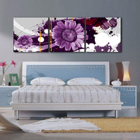 3pcs No Frame Print Poster Canvas Purple Flower Decoration Art Oil Painting Gift Modular Pictures On