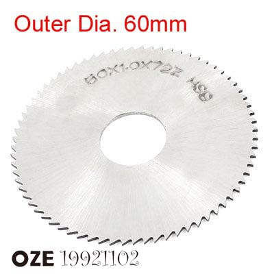 1pc Silver Tone HSS 72T External Dia.60mm X 16mm X0.3/0.4/0.5/0.6/0.7/0.8/0.9/1/1.2/1.5/2/2.5/3/3.5/4/4.5/5mm Slitting Saw Blade