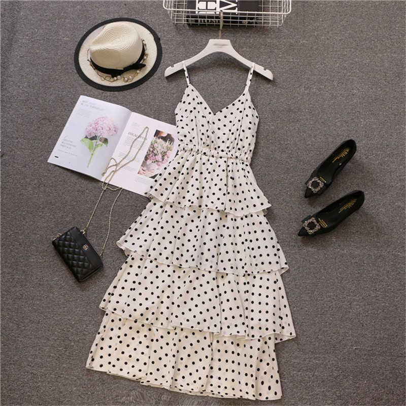Шифоновое летнее платье для женщин 2019, повседневное, плюс размер, ТРАПЕЦИЕВИДНОЕ ПЛАТЬЕ, элегантные, сексуальные, длинные, вечерние платья, белый горошек, пляжный бандажный Сарафан