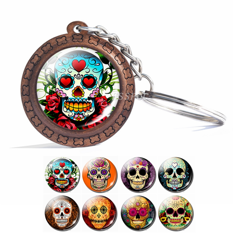 Mexican Traditional Sugar Skull Keychain The Sugar Skull Photo Cabochon Glass Keychain Wooden Pendant Day Of The Dead Jewelry