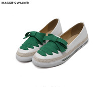Maggie's Walker Women Leather Lacing Flats Microfiber Casual Shoes Candy colored Loafers Fisherman's Shoes Size 35~40