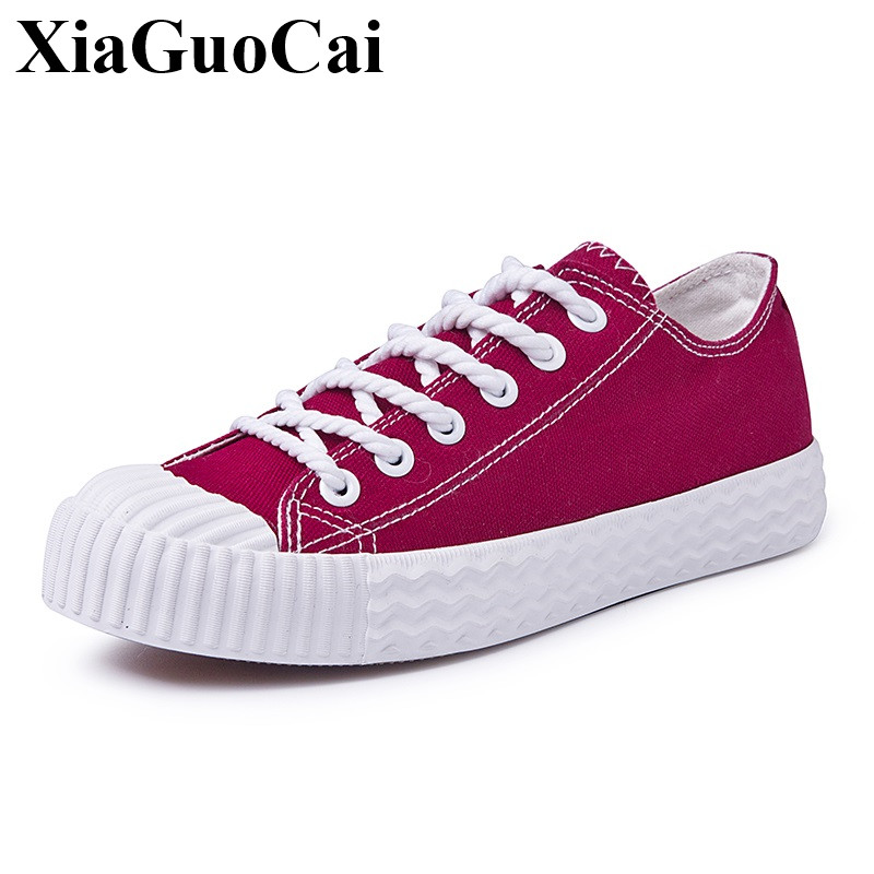 Women Canvas Shoes Retro Style All-match Classics Round Toe Lace-up Thick Bottom Flats Casual Shoes Female Single Shoes H355 35
