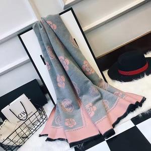 Image 3 - ผู้หญิงใหม่ฤดูหนาวผ้าพันคอผ้าพันคอผ้าพันคอผ้าพันคอคุณภาพสูงCamelliaดอกไม้พิมพ์ผ้าพันคอผ้าพันคอLady Shawlหนาผู้หญิงPashmina Wraps