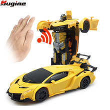 RC Car Robot Toys One-Click Deformation Gesture Sensing Remote Control Car 1:12 Colorful Lights Electric Kids Hobby Toys Gifts(China)
