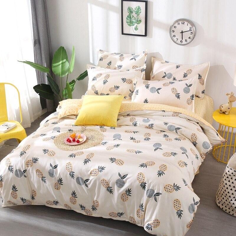 Frutta ananas Bedding Set Quilt Cover matrimoniale completa Re del fumetto dei bambini copripiumino Set Biancheria Da Letto giallo e bianco 4 pz