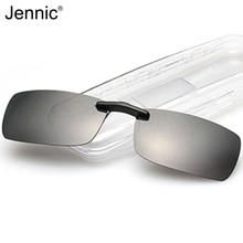 Jennic Men Polarized Clip On Sunglasses Men Night Driving Vision Lens Auti-Glare UV400 Rectangle Ultra-thin Clip