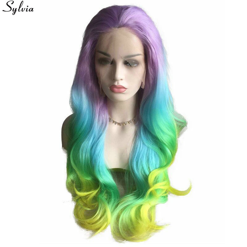 Sylvia Rainbow Color Heat Resistant Friber Wigs #Light Purple/Sky Blue/Pastel Green/Yellow Ombre Pastel Synthetic Lace Front Wig