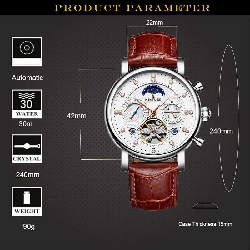 de moda luxo couro genuíno homem multifuncional automático esqueleto relógio