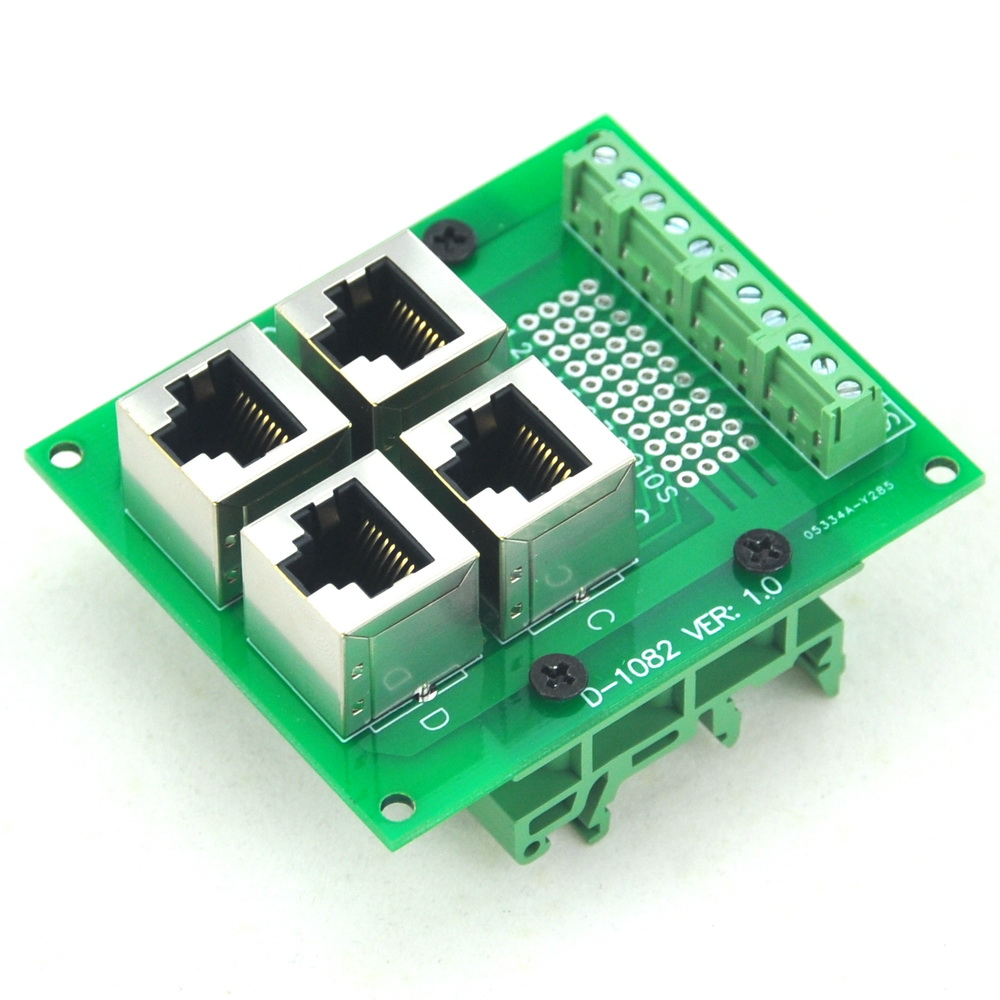RJ50 10P10C 4-Way Buss Board Interface Module With Simple DIN Rail Mount Bracket