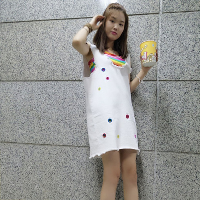 Fashion New Women Summer 2-Pieces Denim Strap White Dress & Rainbow Color Camisole Casual Sleeveless Loose Overall Dress