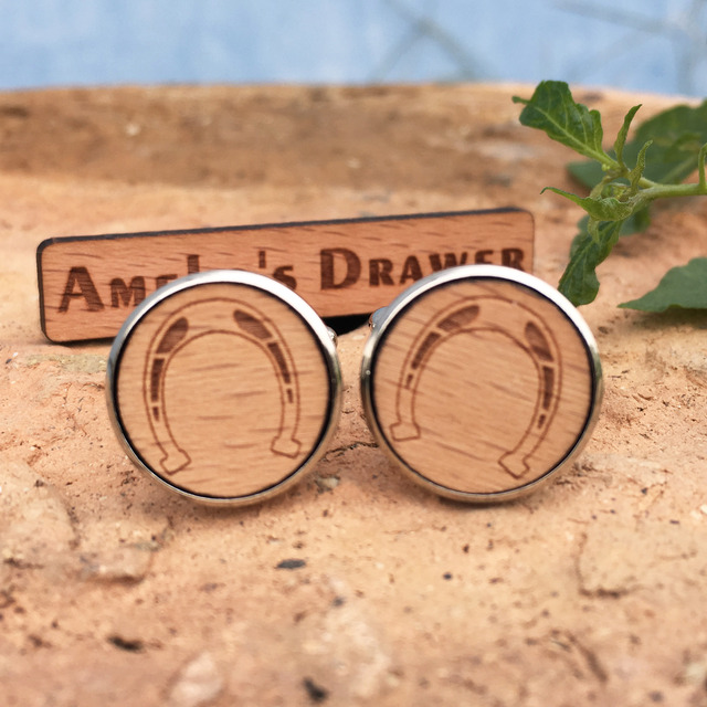 Laser Engraved Cufflinks Pattern Wooden Horse Stud Iron Suit X 5 Pairs