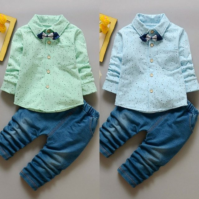 OUTAD Little Boys Long Sleeved Tops Lovely Bow Tie Shirt