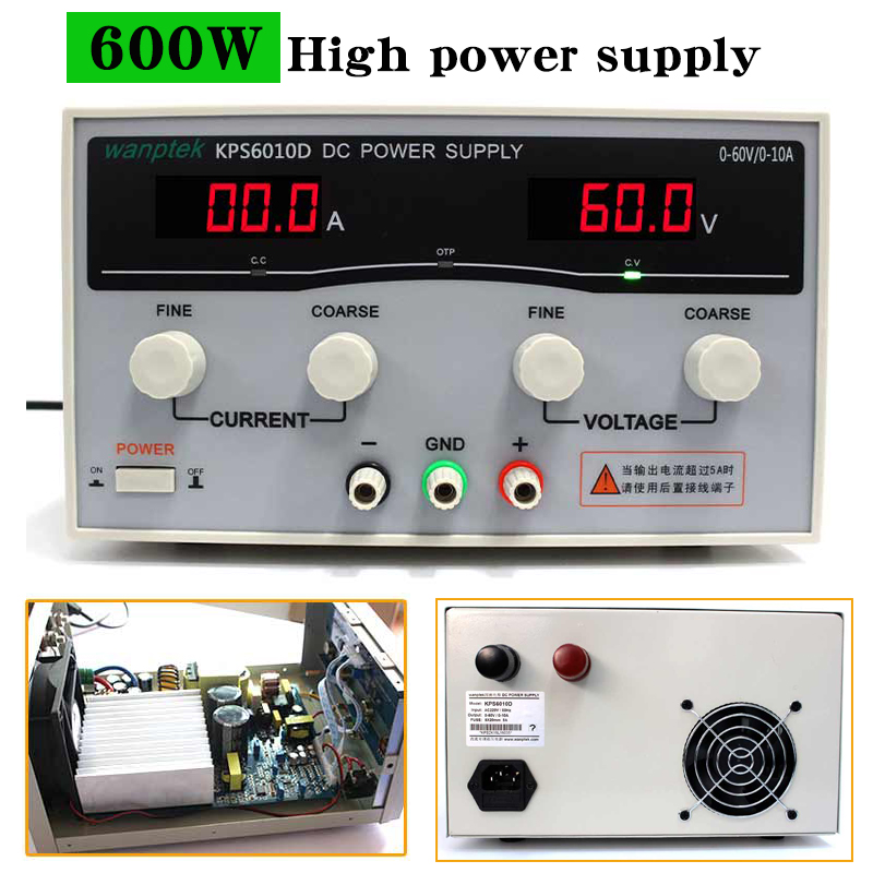 KPS6010D 60V 10A High Power Supply 600W 30V/20A Laboratory Power Supply,Adjustable 0.1A Switch DC power supply kps3020d high precision adjustable digital dc power supply 30v 20a for scientific research laboratory switch dc power supply