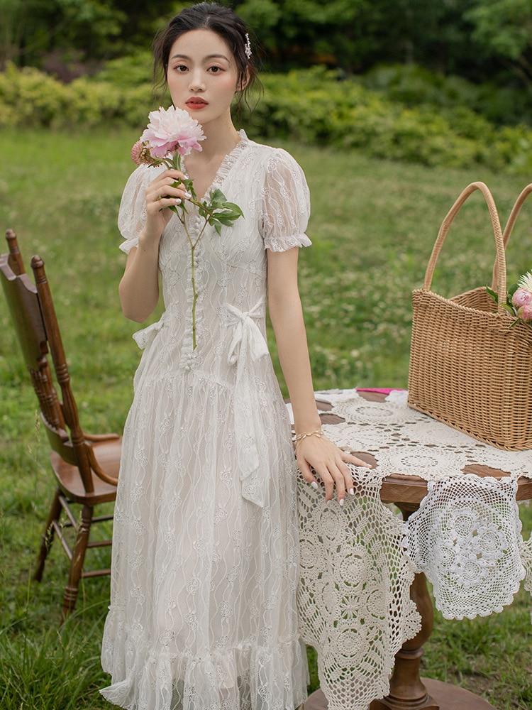 Ubei Sommer weiß spitze lange kleid Französisch Victoria kleine taille abnehmen kleid süße super fee temperament fee kleid-in Kleider aus Damenbekleidung bei  Gruppe 2
