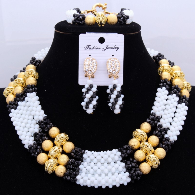 4 bijoux de mode ensembles de bijoux femmes accessoires blanc noir or Dubai collier ensemble pour les filles grand ensemble de bijoux africains femmes