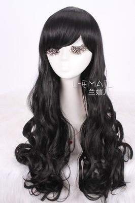 лолита 2 * чип ponytails70cm черный волны длинные ну вечеринку костюм косплей парики. бесплатная доставка