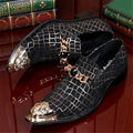 Fashion Wedding Party Shoes Men Mocassin Designer Pointed Toe Ankle Boots Flats Leather Shoes Spike Slip On Metal Shoes