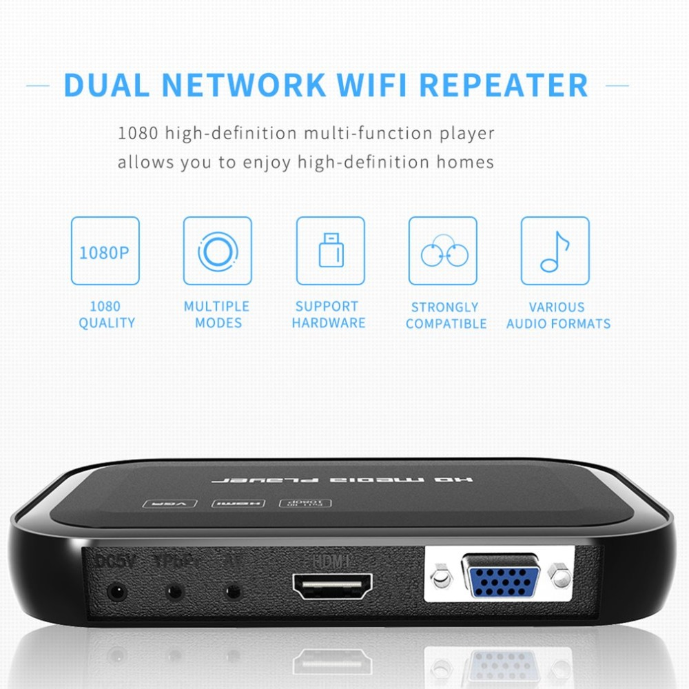 HD Media Center Wi-Fi Repeater 3D Media Player Full HD 1080P Multi-function With 01 Remote Control HDMI VGA Multiple Modes 1080p full hd media video player center with hdmi vga av usb sd mmc port remote control dropshipping