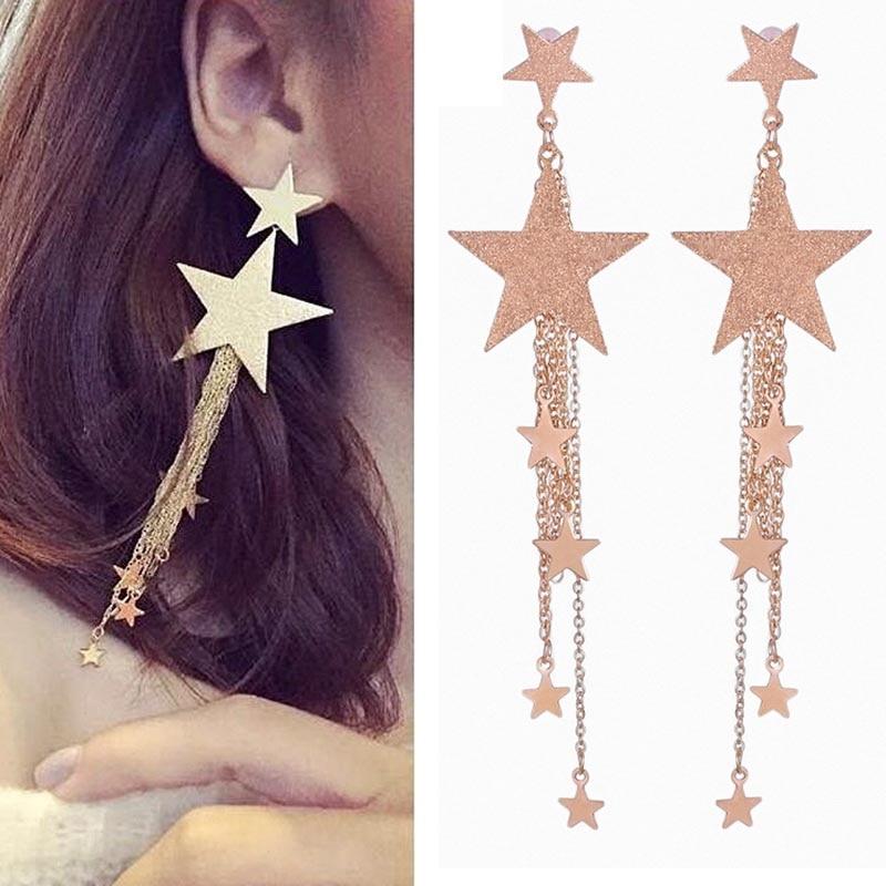 Fashion Korean Long Tassel Earring For Women Rose Gold Silver Color Star Beads Hanging Drop Earrings Trendy Jewllery Bijoux
