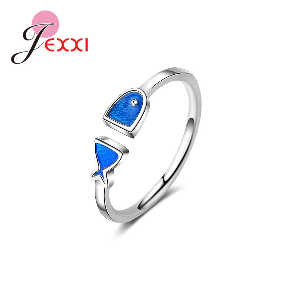Cute Blue Fish Design Stackable Genuine 925 Sterling Silver  Adjustable Girls Women Rings Accessories for Party Fast Ship