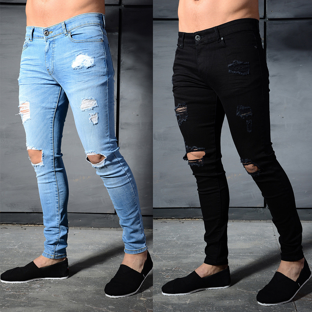 2018 New Fashion Brand Jeans Men High Quality Distressed Ripped Holes Denim Pants Slim Fit Skinny Male Jeans Homme Streetwear