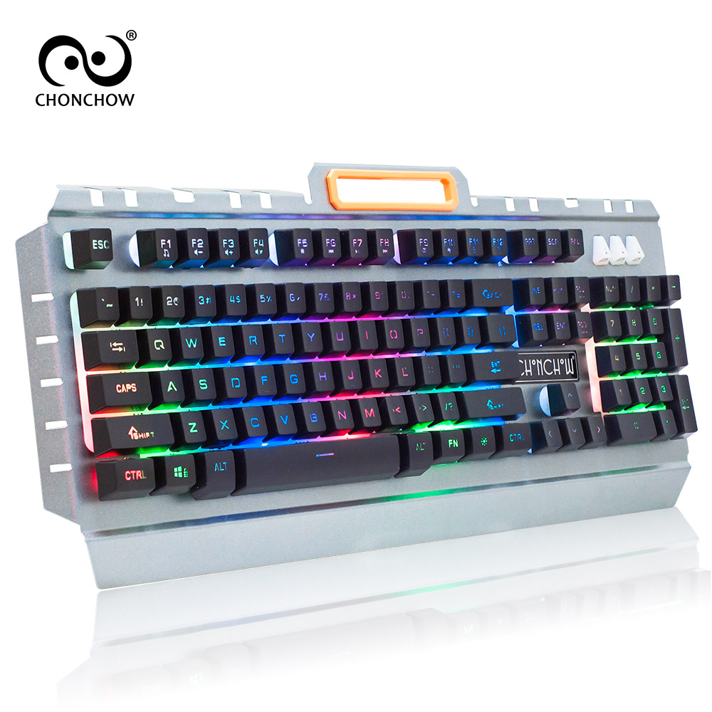 ChonChow Wired Backlit illuminated Multimedia Ergonomic Usb Gaming Keyboard Waterproof Metal frame Translucent keycaps PC Laptop