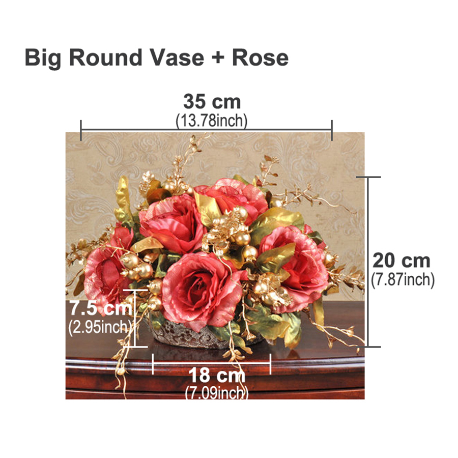 1 set artificial flower rose bouquet european ball round golden 1 set artificial flower rose bouquet european ball round golden ceramic vase wedding home shop decoration fake flowers 6color in artificial dried flowers izmirmasajfo