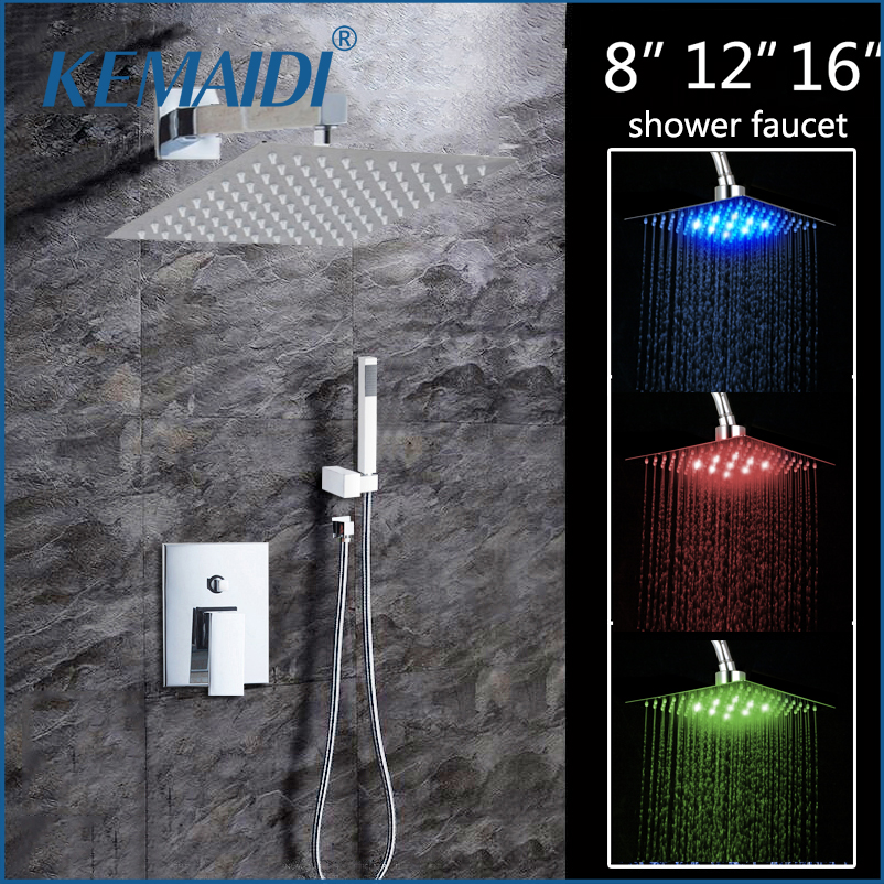 KEMAIDI 8 12 16 LED Shower Wall Mounted Square Style Brass Head Waterfall Shower Set Rainfall