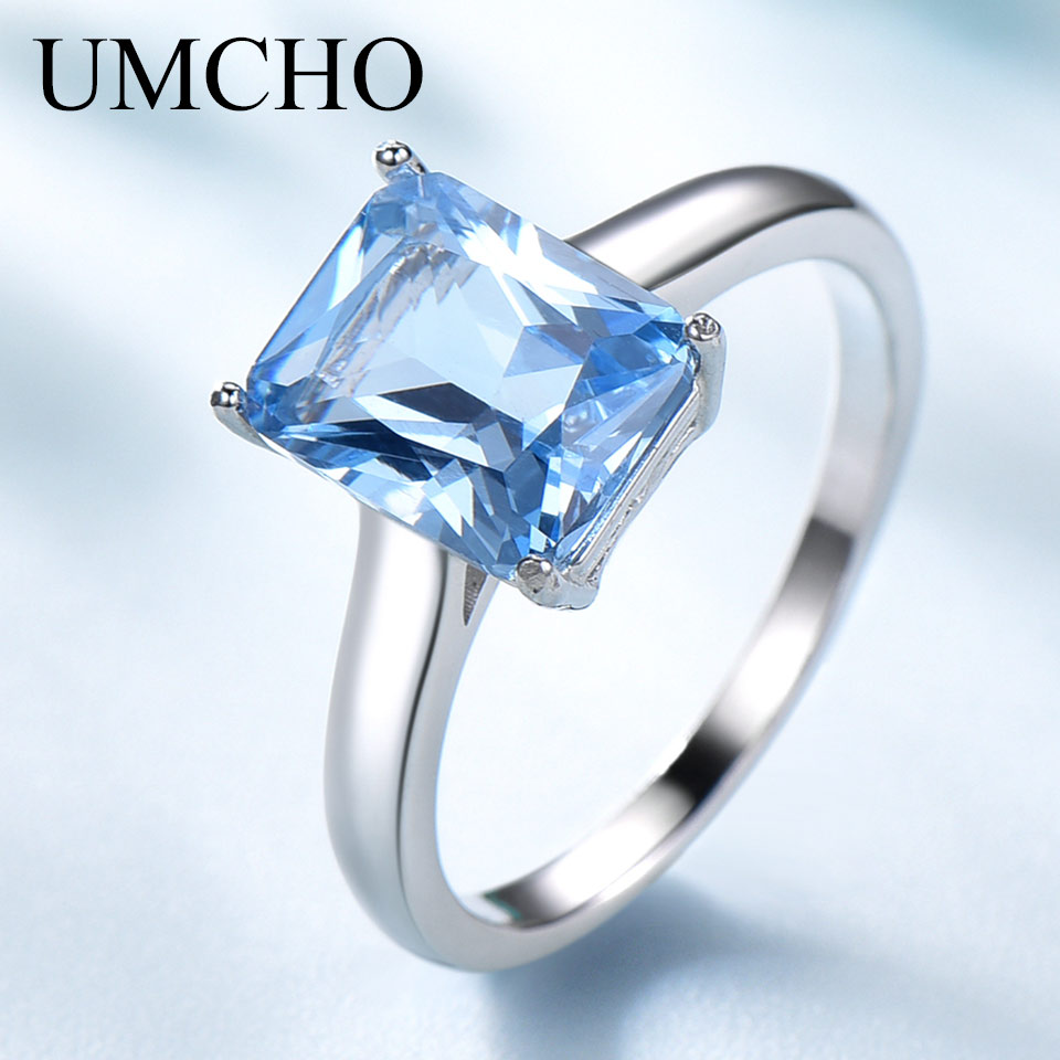 UMCHO Luxury Sky Blue Gemstone Topaz Ring Solid 925 Sterling Silver Wedding Rings for Women Charms Party Fine Jewelry Female