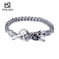 Kalenพังก์ผู้ชายมังกรสร้อยข้อมือสแตนเลสร็อคสัตว์จีนหัวมังกร