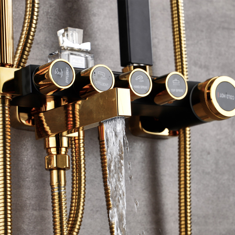 Image 5 - Bathroom Luxury black Golden shower set with bidet shower with shelf gold shower set bathroom Shower faucet Bathtub Faucet SetsShower Faucets   -
