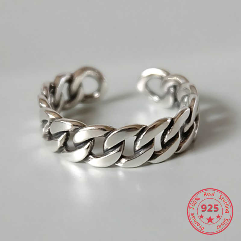 925 Sterling Silver Ring Vintage Chain Ring Open Silver Ring