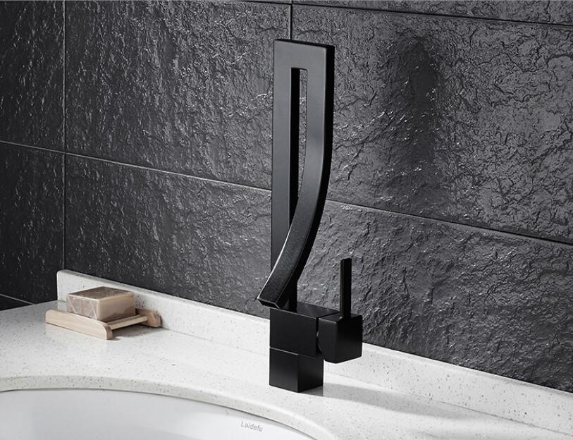 Black copper basin faucet bathroom cabinet wash basin hot and cold faucet personality art drawing basin faucet LU41319 copper basin faucet ceramic bathroom cabinet basin faucet faucet copper double cold and hot water