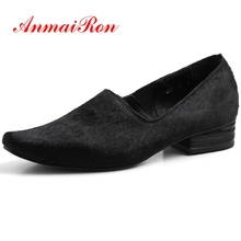 ANMAIRON Horsehair Square Toe Shoes Woman High Heel Pumps Women Shoes Calzado Mujer Size 34-40 LY358
