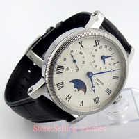 42ミリメートルパーニスホワイトgmtムーンフェイズ手巻きムーブメントメンズ腕時計