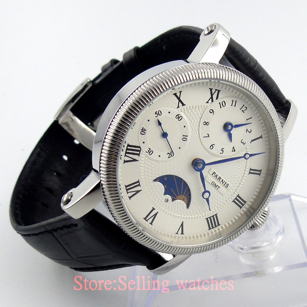 42mm parnis white dial GMT Moon Phase hand winding movement mens watch