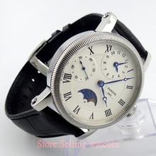 42 мм парнис белый циферблат Moon Phase GMT рука обмотки мужские часы
